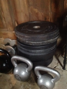 Bumper plates and kettlebells