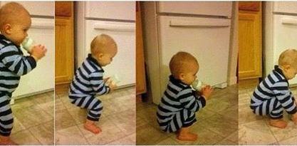 A toddler often learns to squat down before taking his first steps!